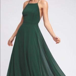 Beautiful dark green floor length dress